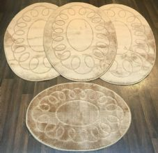 ROMANY WASHABLE TRAVELLERS MATS 4PC SETS NON SLIP REGULAR SIZE BEIGE/BROWN OVAL